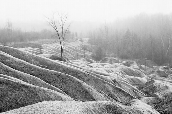 Cheltenham Badlands Fog and Snow Landscape